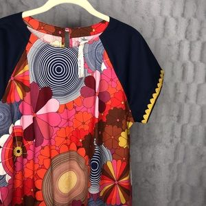Uncle Frank Groovy Floral Short Sleeve Tunic Top